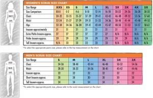 hospital scrub sizes