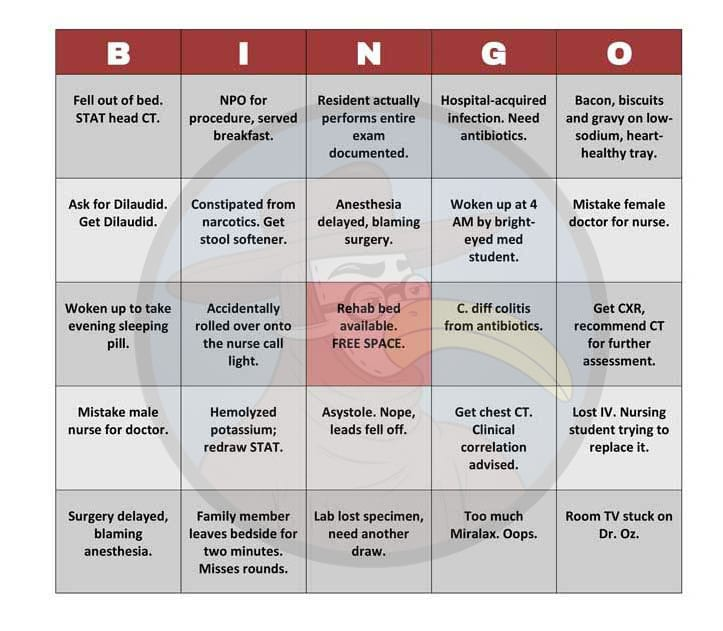 patients can now play hospital bingo to pass time gomerblog
