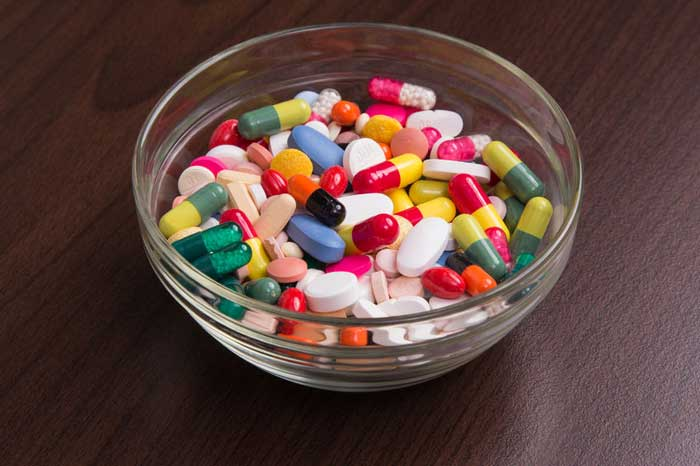 Glass Candy Bowl Filled with Assortment of Antibiotics