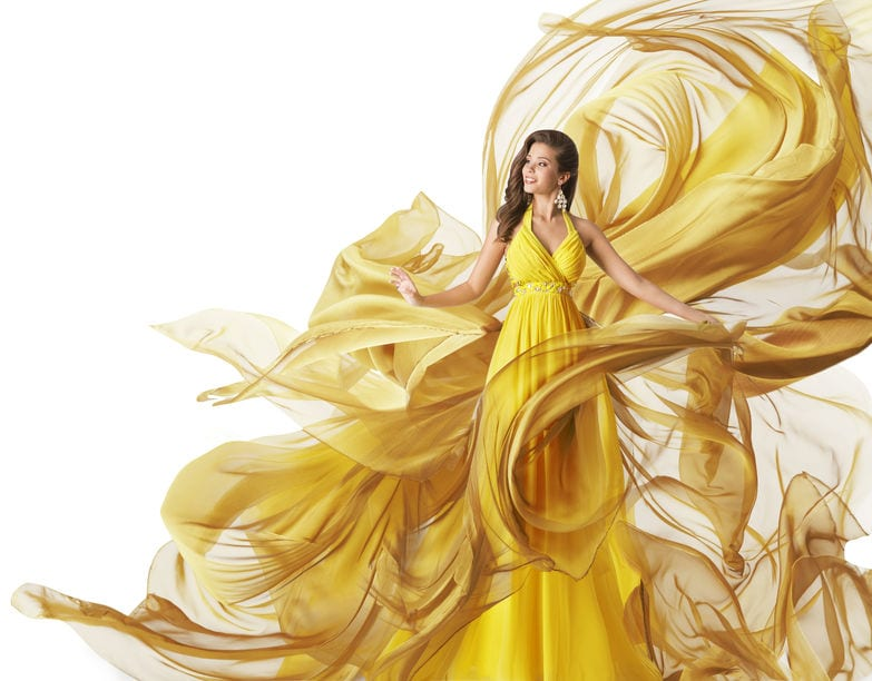 yellow isolation ballroom gowns