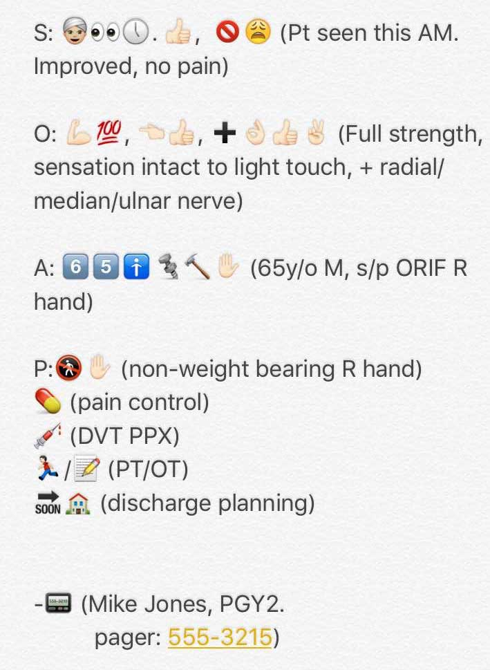 Orthopaedics To Begin To Use Emojis In Progress Notes